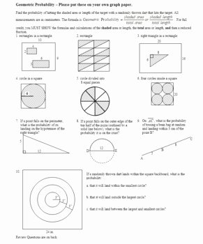 Probability Worksheet with Answers Elegant Geometric Probability Worksheet Spring 2012 with Answer
