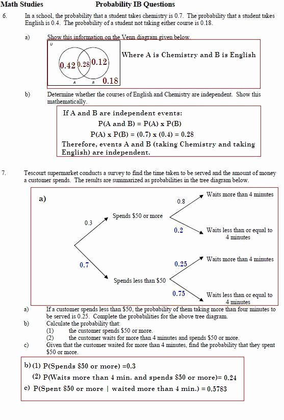 Probability Worksheet with Answers Inspirational southwest Math Stu S Page before Watching All Of the