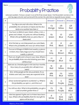 Probability Worksheet with Answers Luxury Probability Coloring Activity