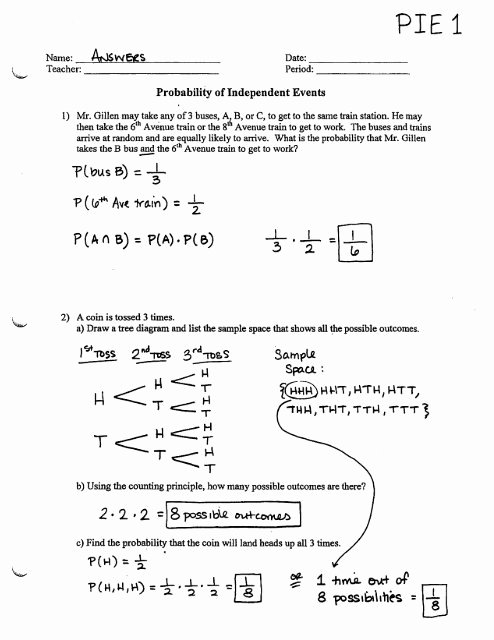 Probability Worksheet with Answers Luxury Probability Of Independent events Worksheet Pie1
