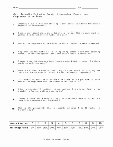 Probability Worksheet with Answers New Probability Mutually Exclusive events Worksheet Answers