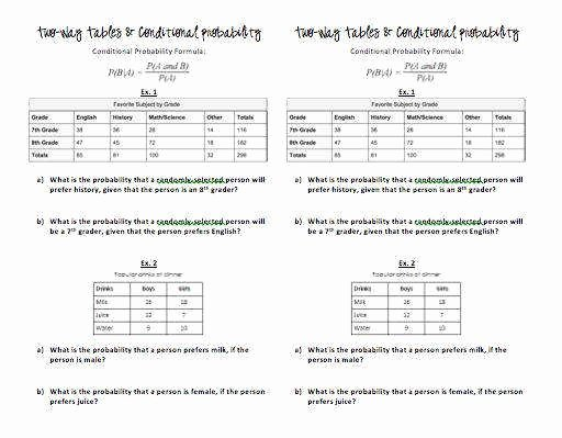 Probability Worksheet with Answers Unique Conditional Probability Worksheet
