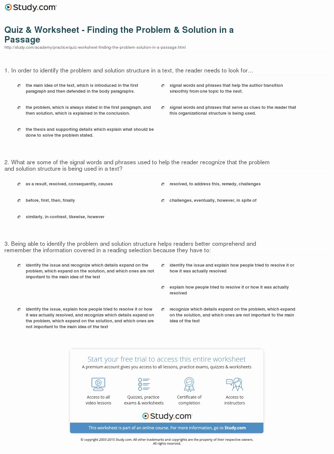 Problem and solution Worksheet Awesome Quiz & Worksheet Finding the Problem & solution In A