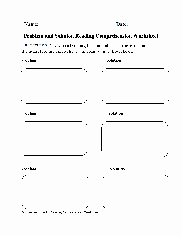 Problem and solution Worksheet Fresh Problem and solution Reading Prehension Worksheet