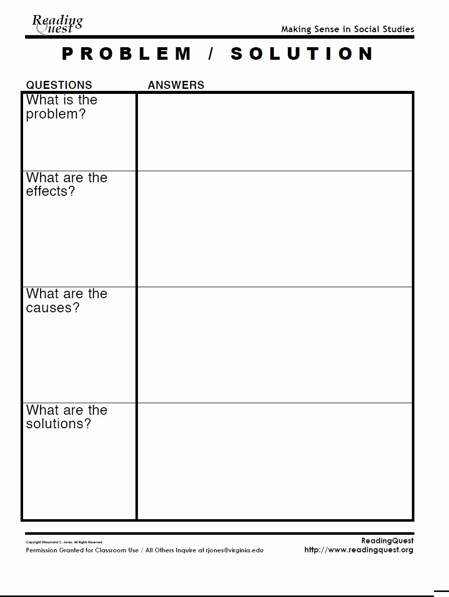 Problem and solution Worksheet Fresh Problem solution Chart