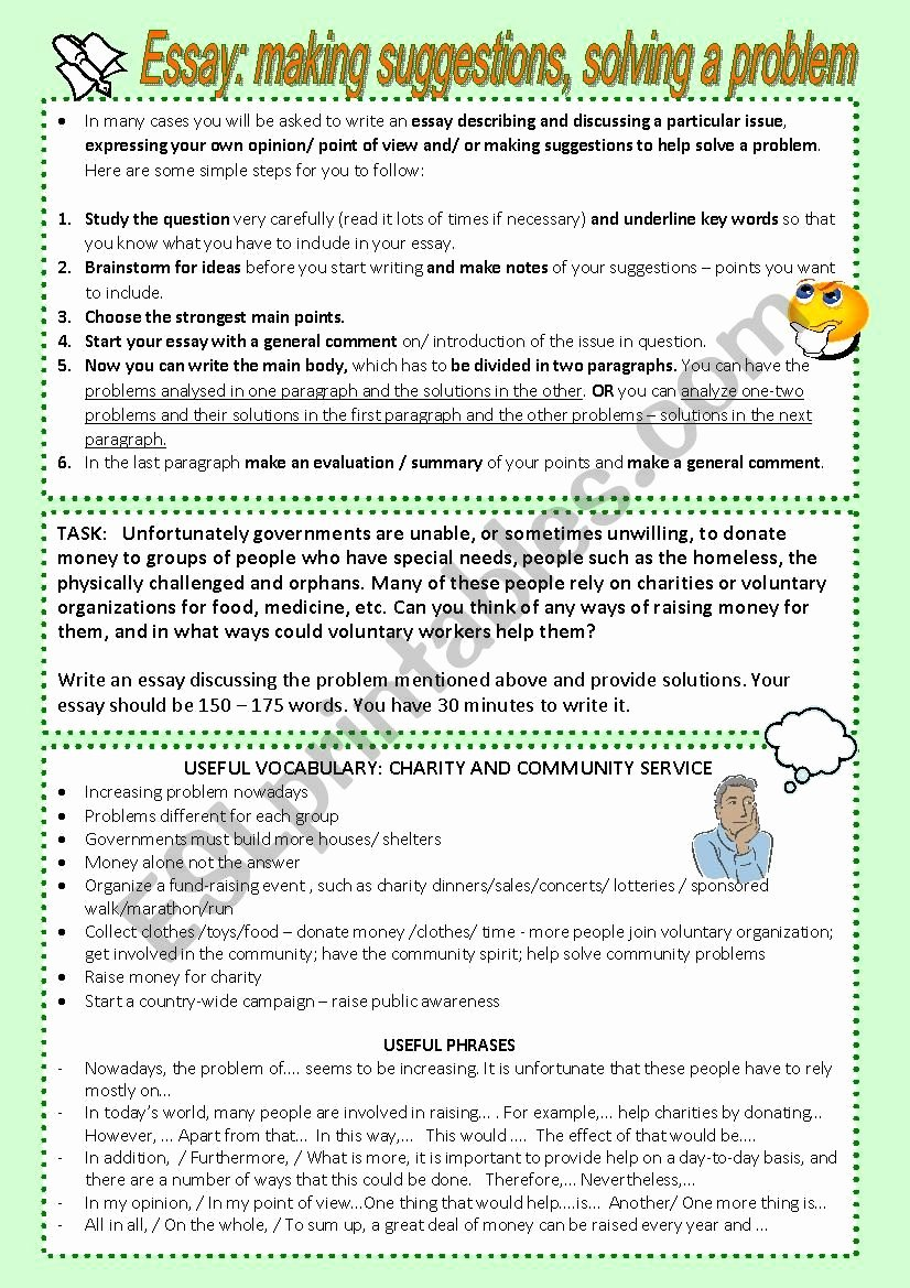 Problem and solution Worksheet Lovely Problem solution Essay Esl Worksheet by Vickyvar