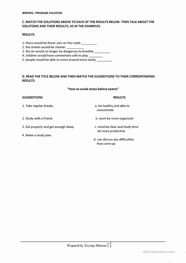 Problem and solution Worksheet Lovely Problem solution Essay Worksheet Free Esl Printable