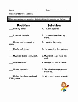 Problem and solution Worksheet Luxury Problems and solutions assessment and Worksheets by Mrs