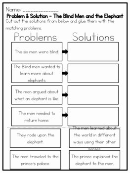 Problem and solution Worksheet Luxury the Blind Men and the Elephant Problem & by Kmwhyte S