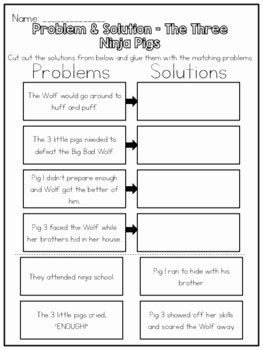 Problem and solution Worksheet New the Three Ninja Pigs Problem & solution Worksheet by