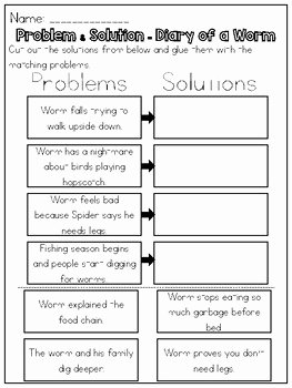 Problem and solution Worksheet Unique Diary Of A Worm Problem & solution Worksheet by Kmwhyte
