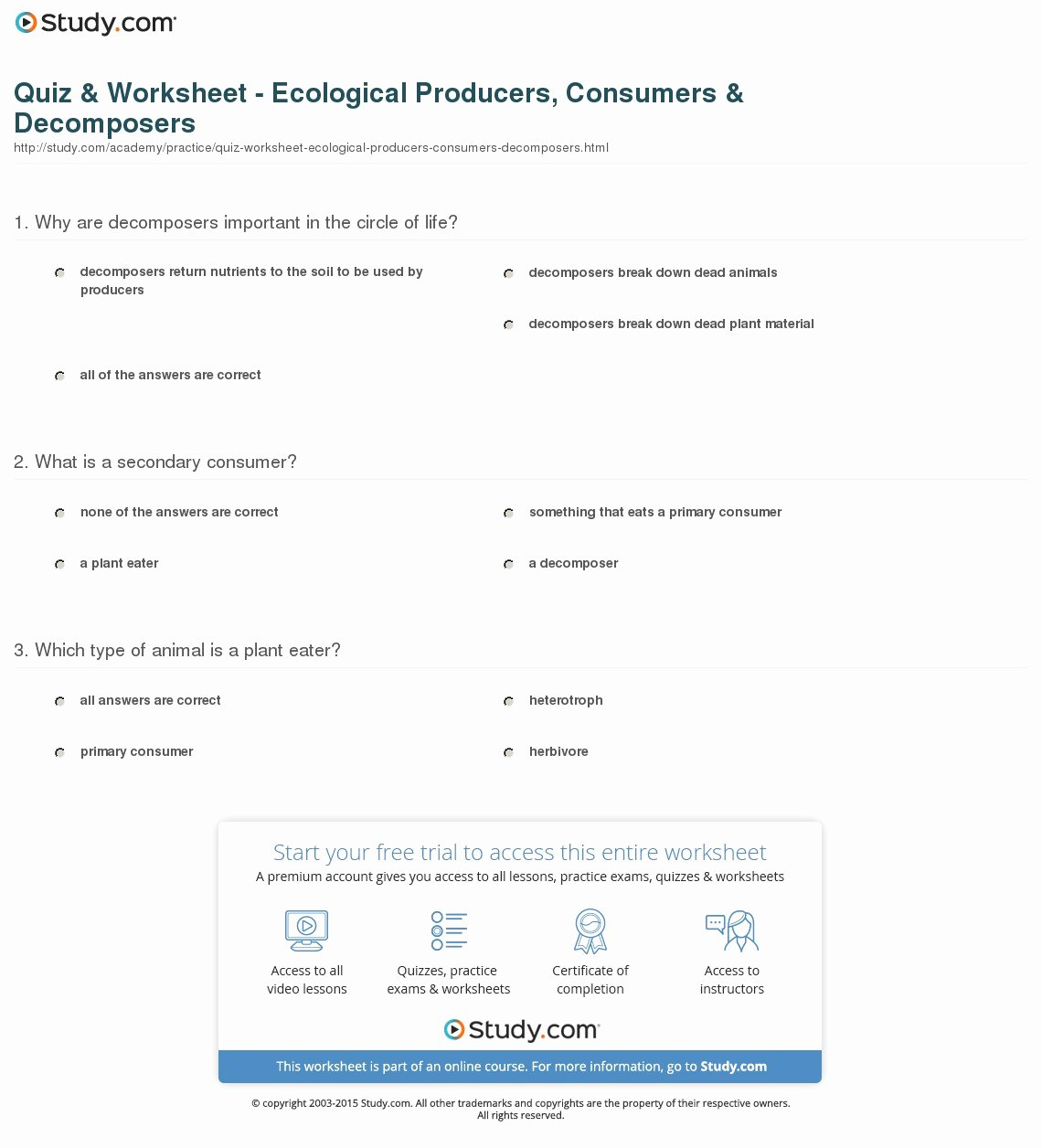 Producer Consumer Decomposer Worksheet Beautiful Quiz & Worksheet Ecological Producers Consumers