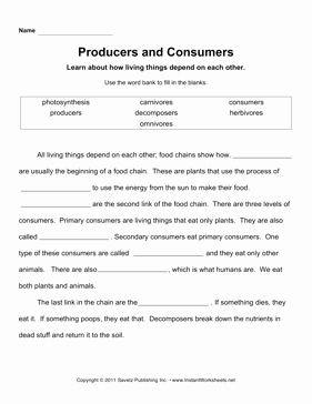 Producer Consumer Decomposer Worksheet Best Of Producers Consumers
