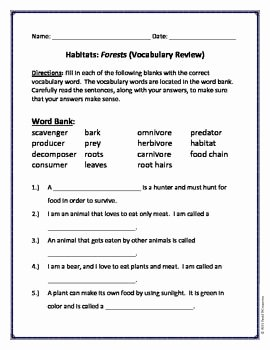 Producer Consumer Decomposer Worksheet Unique Habitats Vocabulary and Science Worksheets On Pinterest