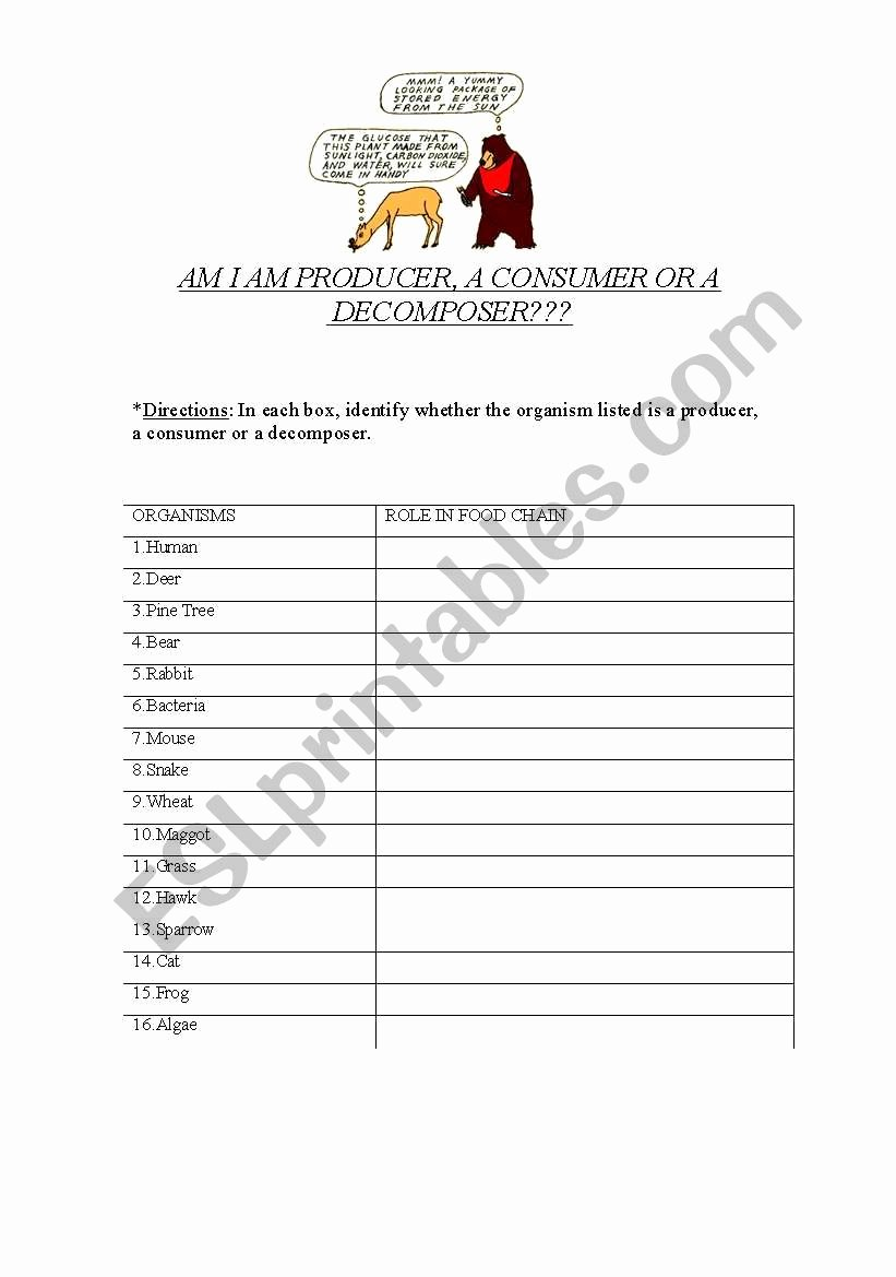 Producer Consumer Decomposer Worksheet Unique the Food Chain Am I A Producer Consumer or De Poser