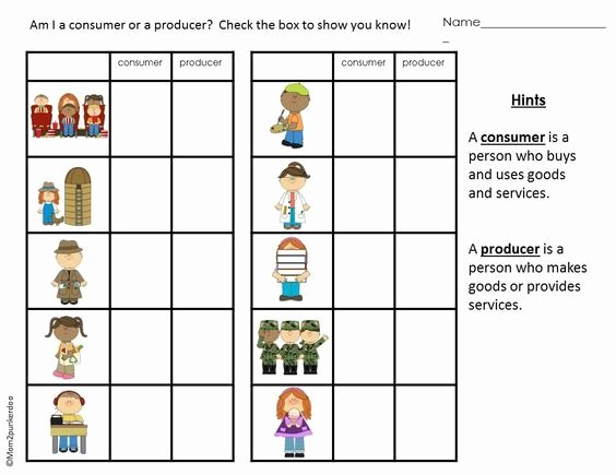 Producers and Consumers Worksheet Awesome Consumers and Producers Personal Finance and Economics