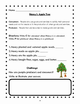 Producers and Consumers Worksheet Beautiful Consumers Producers and More Oh My Economics for First