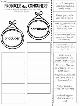 Producers and Consumers Worksheet Fresh Producer or Consumer Cut and Paste sorting Activity by Jh