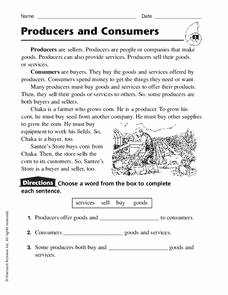 Producers and Consumers Worksheet Luxury Producers and Consumers Worksheet for 2nd 4th Grade