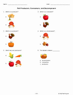 Producers and Consumers Worksheet New Fall Producers Consumers and De Posers Grade 3