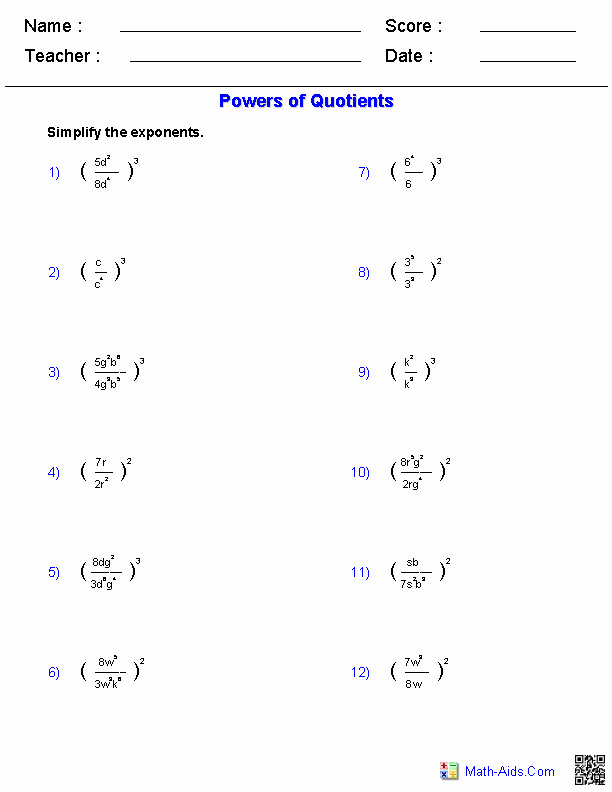 Product and Quotient Rule Worksheet Awesome Algebra 1 Worksheets