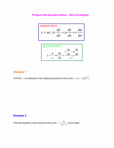Product and Quotient Rule Worksheet Awesome Product and Quotient Rules by Srwhitehouse Teaching