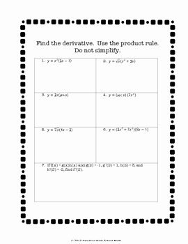 Product and Quotient Rule Worksheet Best Of Calculus Product and Quotient Rule Worksheets and Graphic