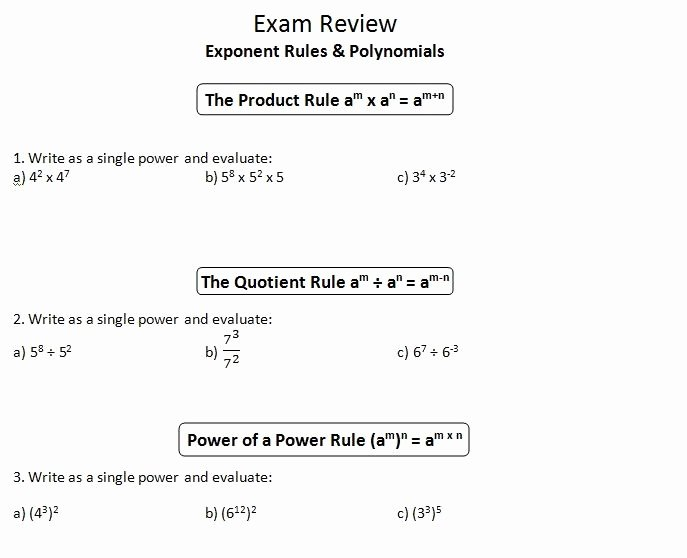 Product and Quotient Rule Worksheet Elegant Ins Pi Re Math Mpm1d Exam Review 1 Exponent Rules