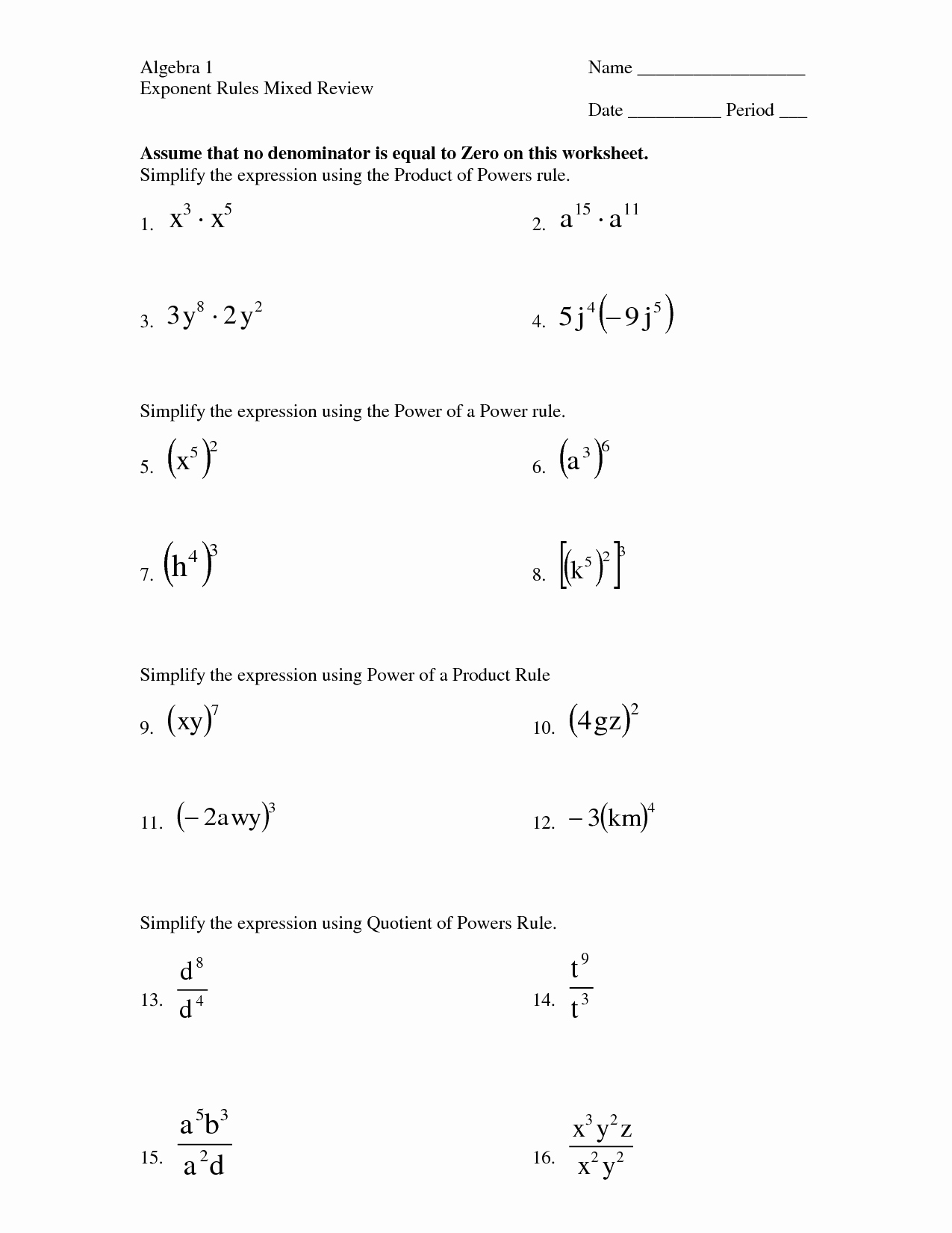 Product and Quotient Rule Worksheet Fresh Exponent Product Rule Worksheet Pdf Fractional Exponent