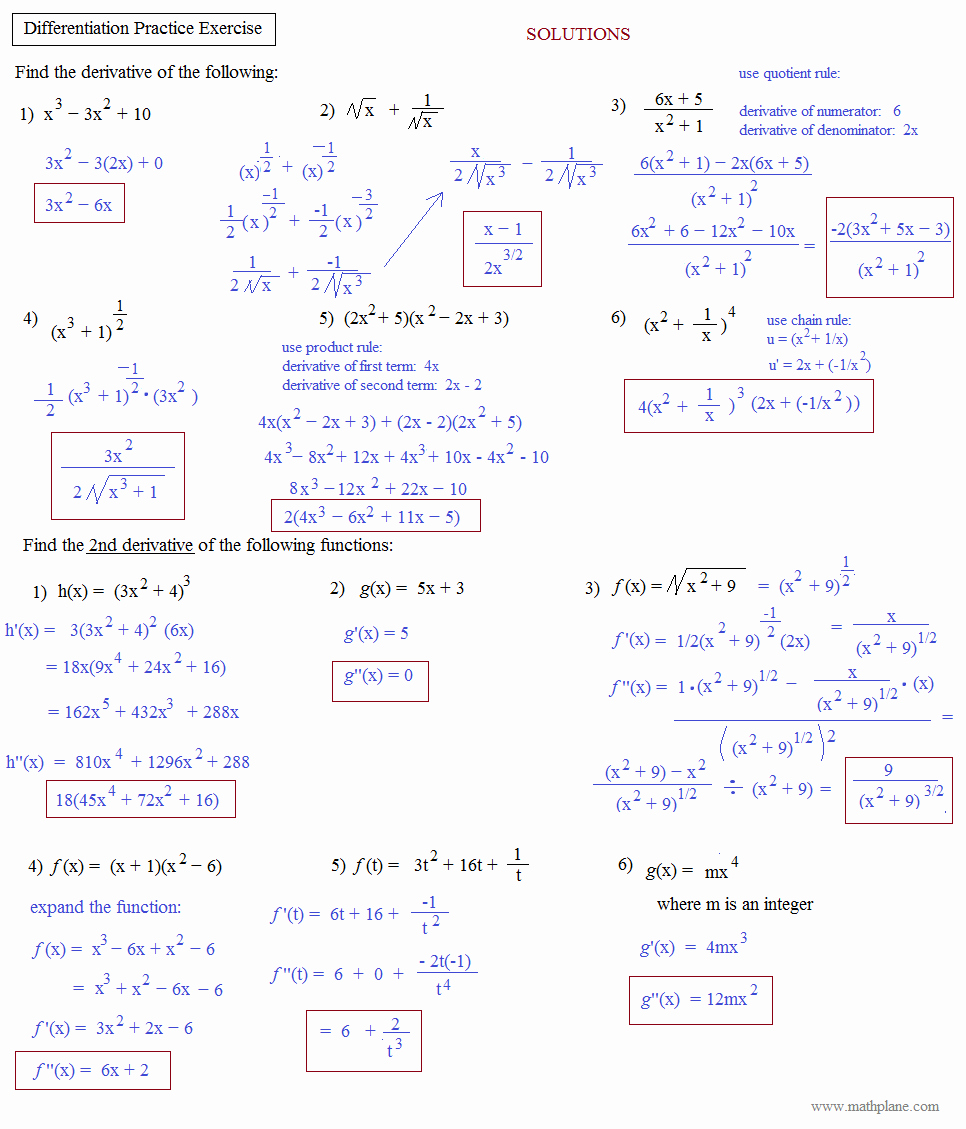 Product and Quotient Rule Worksheet Luxury Math Plane Mon Derivative Rules Product Quotient