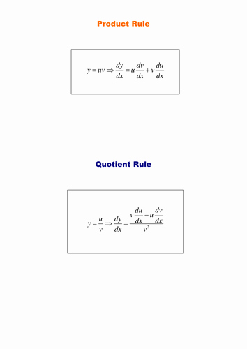 Product and Quotient Rule Worksheet New Product and Quotient Rules by Srwhitehouse