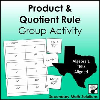 Product and Quotient Rule Worksheet Unique Exponents Product & Quotient Rule Group Activity A11b