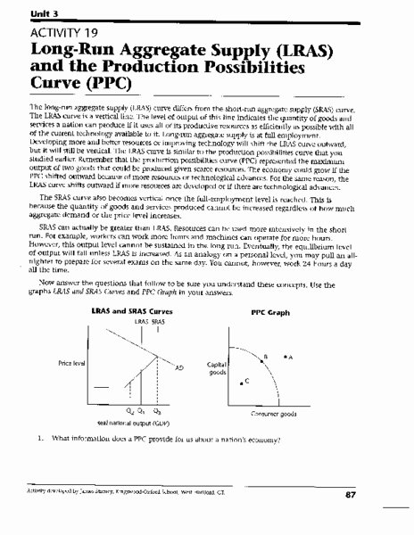 Production Possibilities Curve Worksheet Answers Inspirational Long Run Aggregate Supply and the Production Possibilities