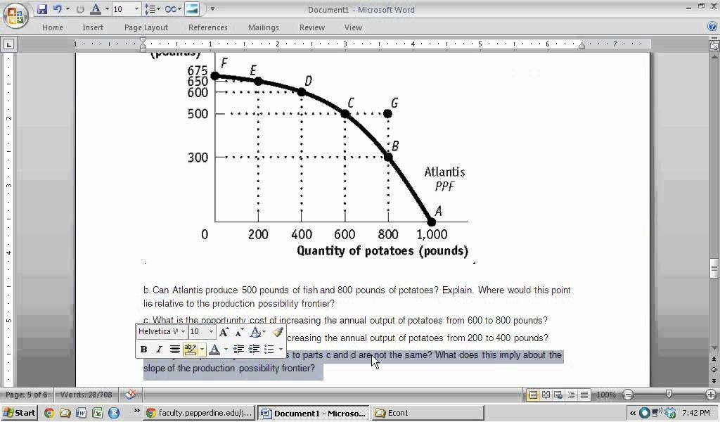 Production Possibilities Frontier Worksheet Luxury Production Possibilities Curve Worksheet