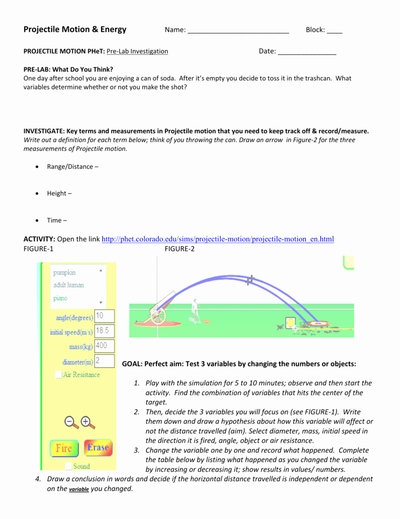 Projectile Motion Worksheet Answers Awesome Phet Projectile Motion Worksheet