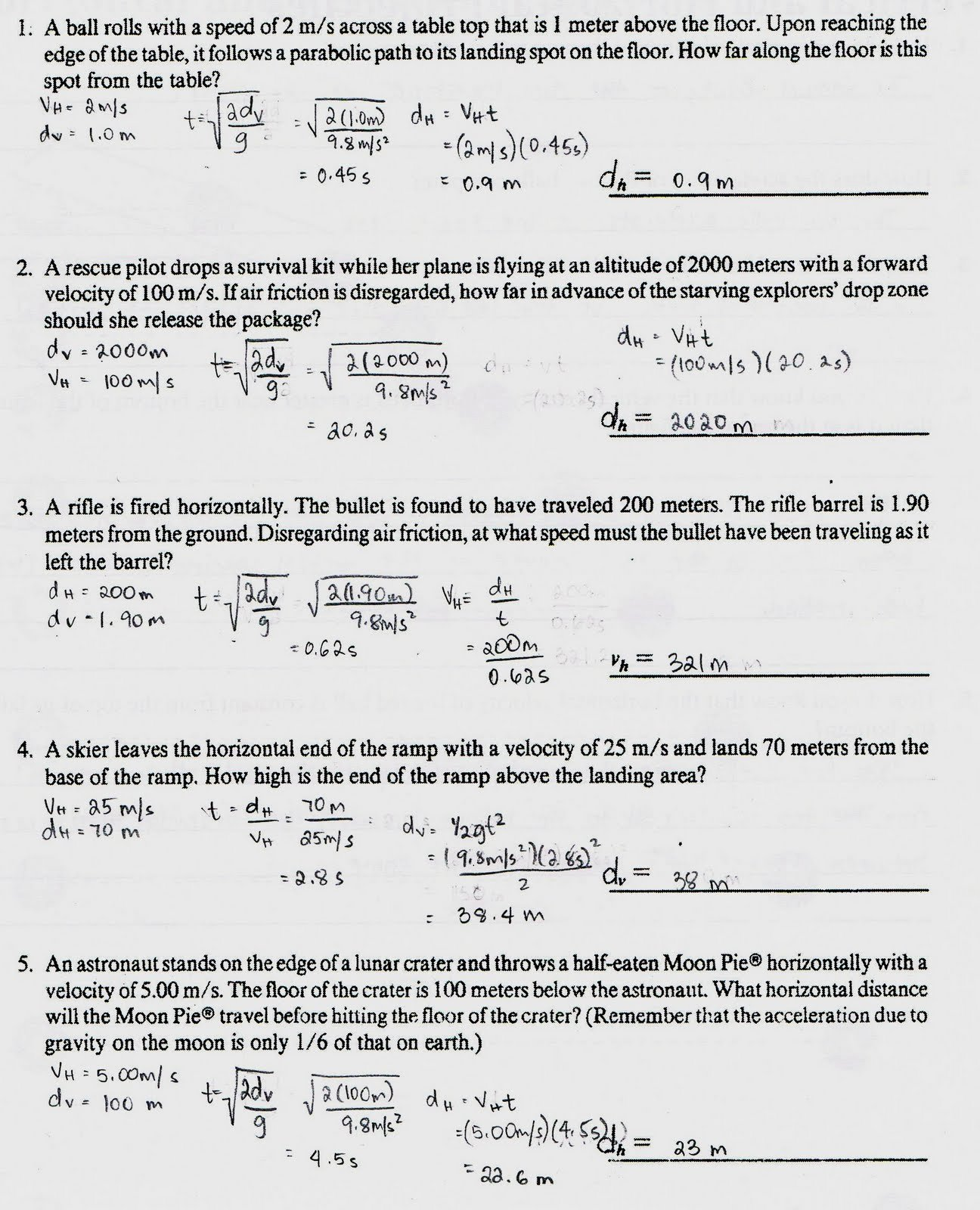 Projectile Motion Worksheet Answers Awesome Physics1202 2010 Projectile Motion Continued