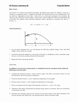 Projectile Motion Worksheet Answers Best Of Projectile Motion Review