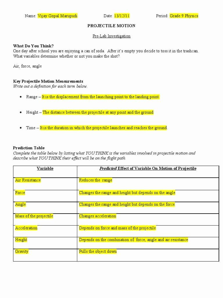 Projectile Motion Worksheet Answers Elegant Projectile Motion Problems Worksheet with solutions