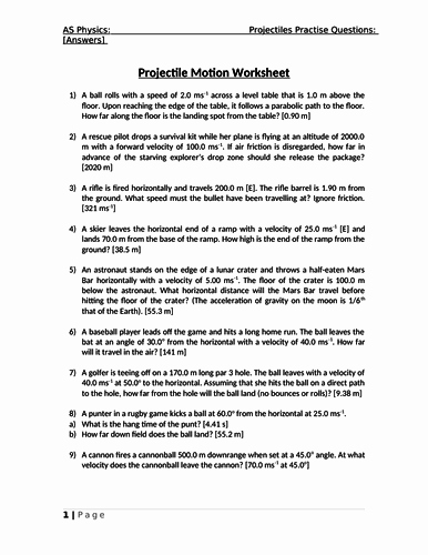 Projectile Motion Worksheet Answers Lovely as Physics Projectile Motion Worksheet with Answers