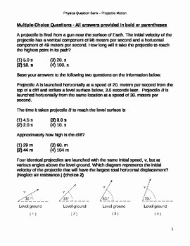 Projectile Motion Worksheet Answers Luxury High School Physics Question Bank Projectile Motion by