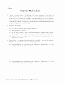 Projectile Motion Worksheet Answers New Projectile Motion Lab 12th Higher Ed Worksheet
