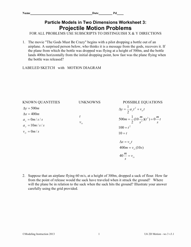 Projectile Motion Worksheet Answers New Worksheet 3