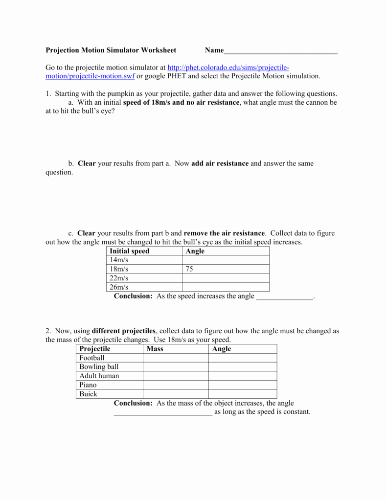 Projectile Motion Worksheet with Answers Awesome Phet Projectile Motion Worksheet