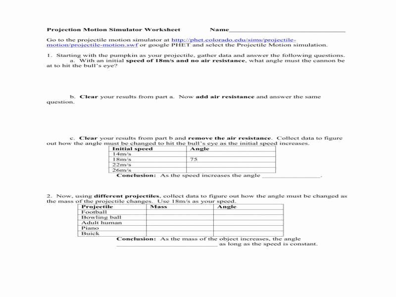 Projectile Motion Worksheet with Answers Beautiful Projectile Motion Worksheet