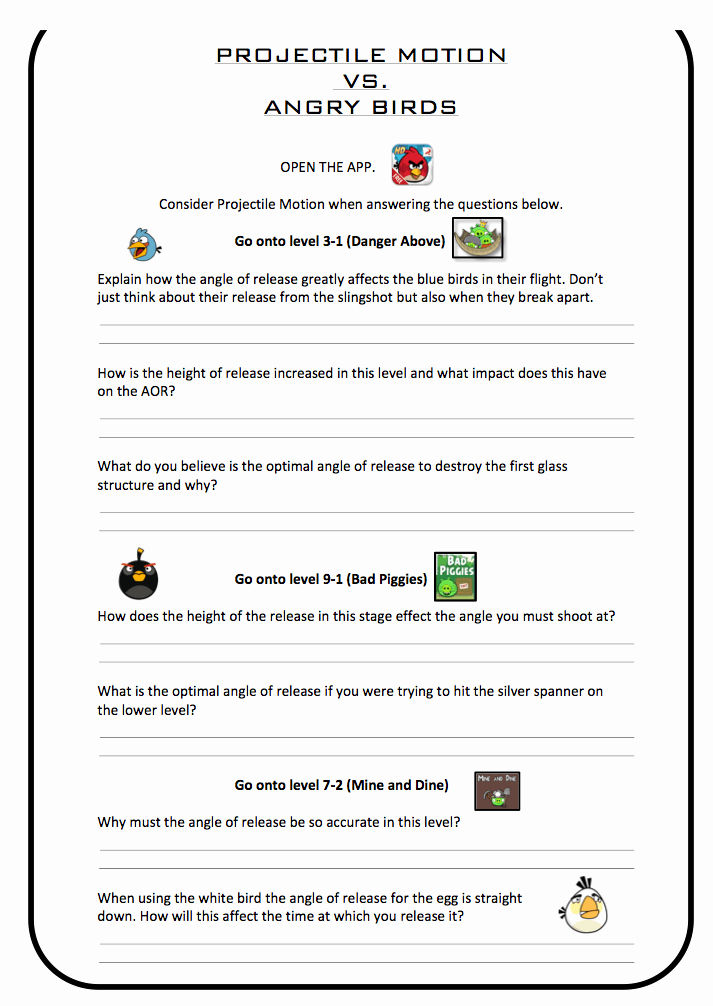 Projectile Motion Worksheet with Answers Fresh Projectile Motion Vs Angry Birds Pe Scholar