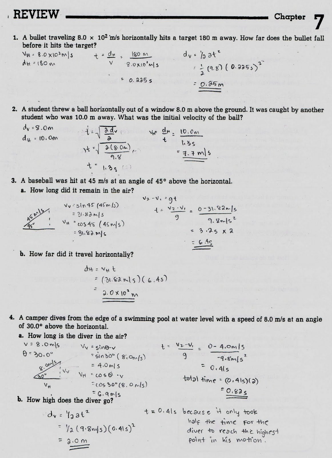 Projectile Motion Worksheet with Answers Fresh Projectile Motion Worksheets with Answers