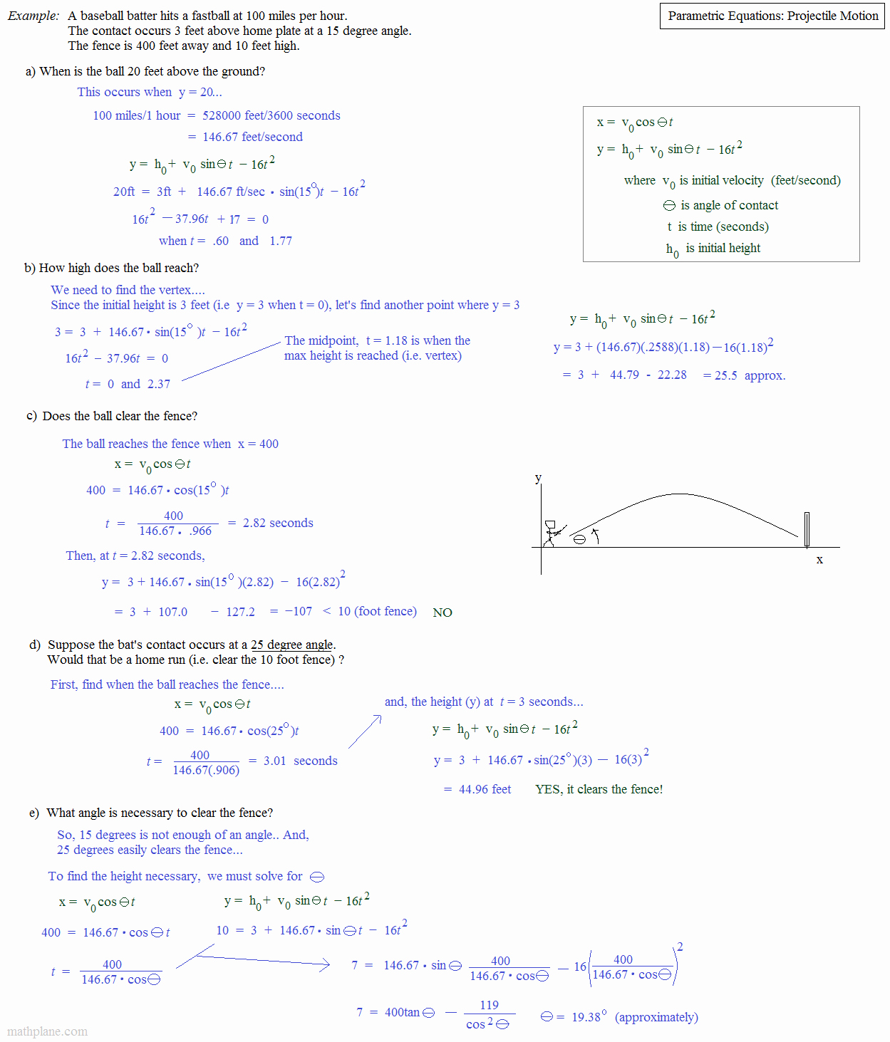 Projectile Motion Worksheet with Answers New Math Plane Play Ball Math and Baseball Statistics