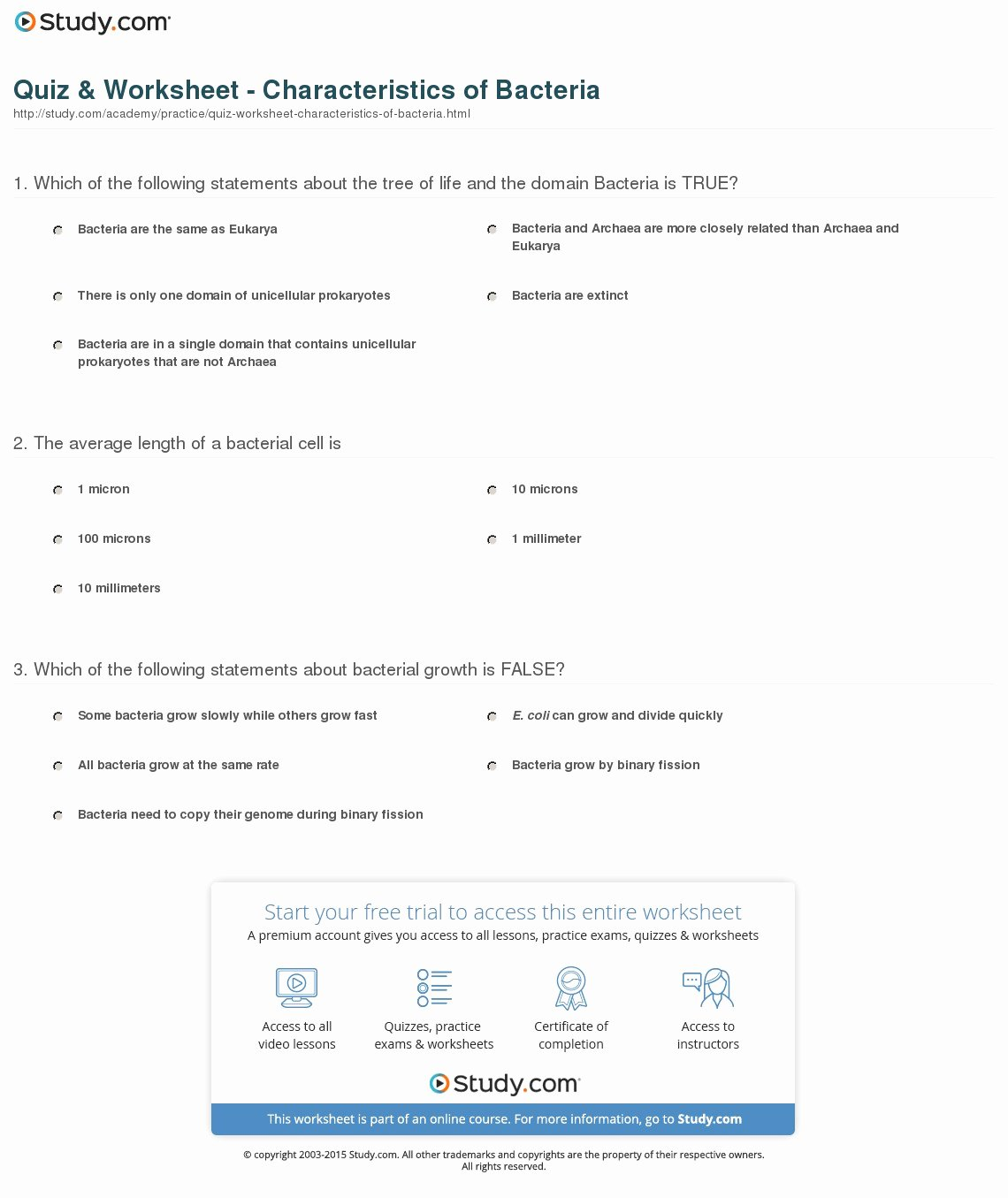 Prokaryotes Bacteria Worksheet Answers Elegant Quiz & Worksheet Characteristics Of Bacteria