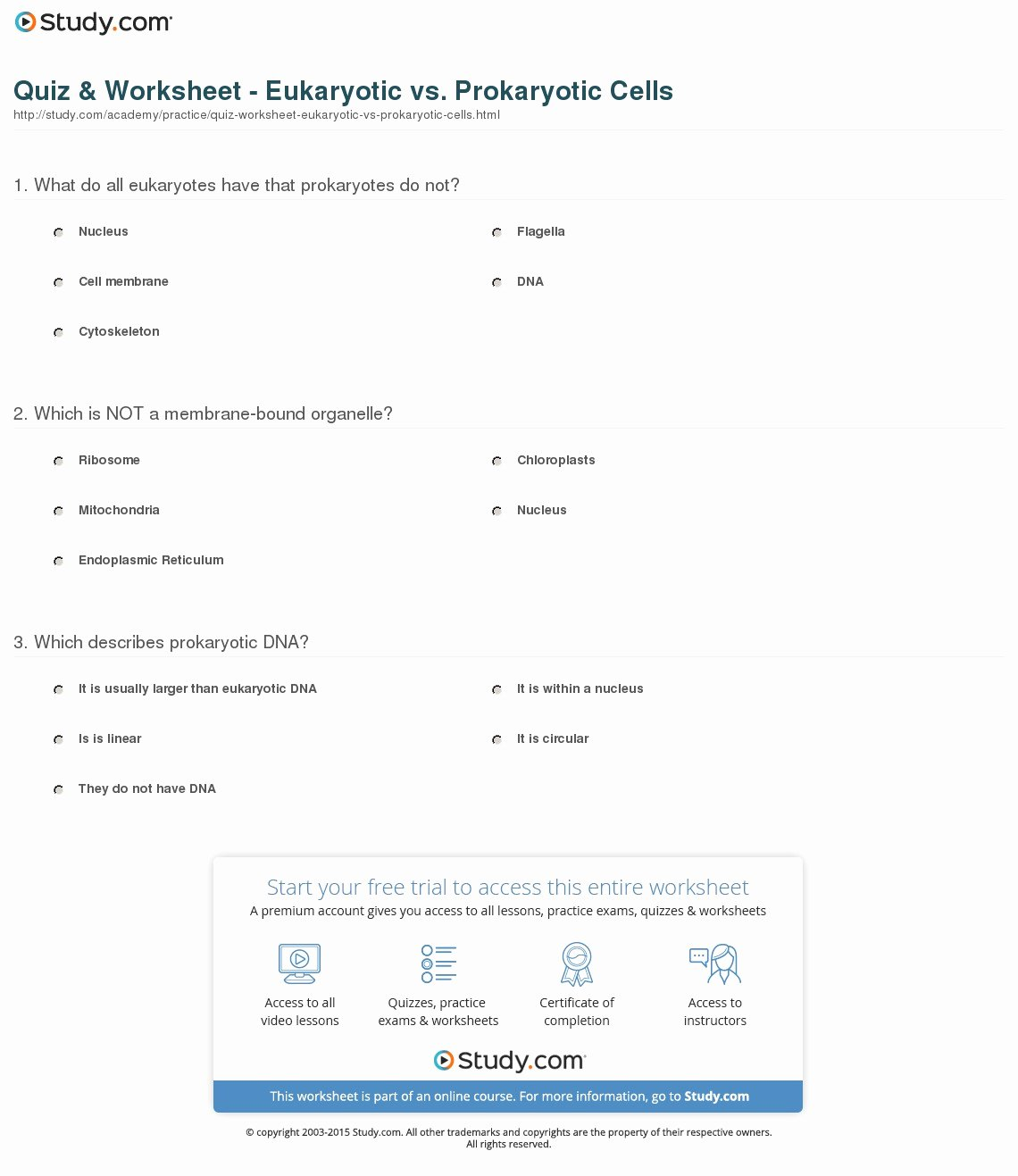 Prokaryotic and Eukaryotic Cells Worksheet Luxury Quiz & Worksheet Eukaryotic Vs Prokaryotic Cells