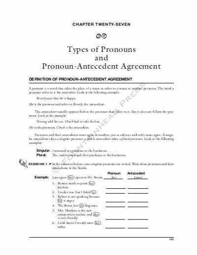 Pronoun Antecedent Agreement Worksheet Beautiful Pronoun Antecedent Agreement Worksheet